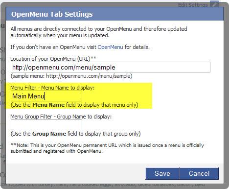 openmenu tab menu filter
