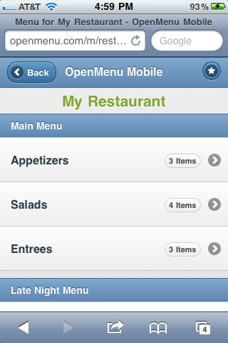 mobile menu. Sample Mobile Menu: