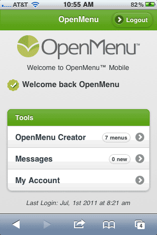 OpenMenu Mobile - Main Screen
