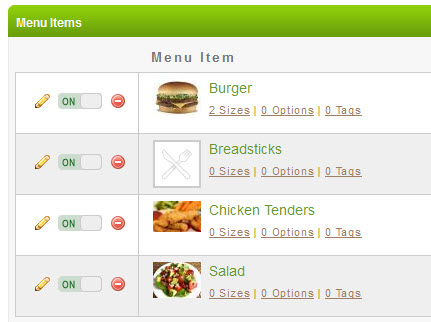 Menu Items with Images