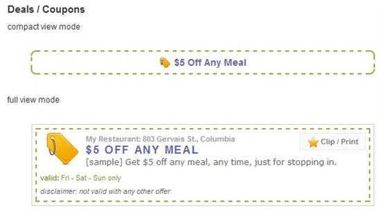 Restaurant Deals Coupons