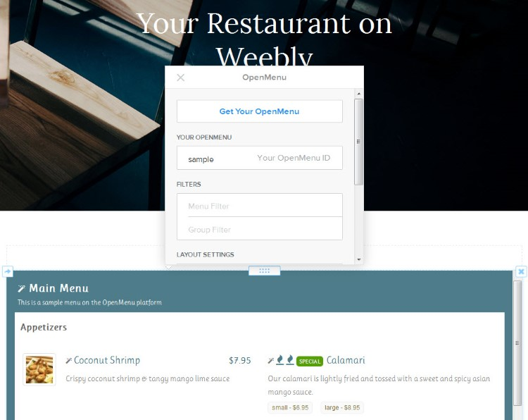 OpenMenu on Weebly