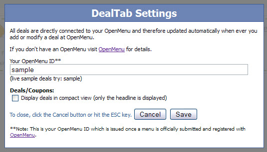 DealTab settings dialog