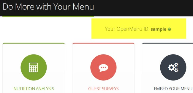 Your OpenMenu ID
